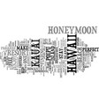 your honeymoon in kauai text background word vector image vector image