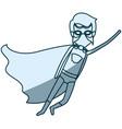 blue shading silhouette of faceless superhero male vector image