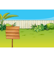 An empty signboard in the garden vector image