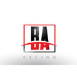 ba b a logo letters with red and black colors