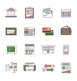 Bank Icons Outline vector image