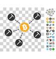 bitcoin mining network icon with bonus vector image vector image