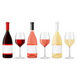 bottles and glasses of wine vector image vector image