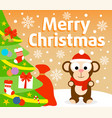 christmas background with monkey vector image