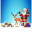 christmas background with santa claus ringing bell vector image vector image