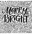 christmas greeting card with merry and bright text vector image vector image