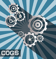 cogs - gears retro paper cut cog - gear set on vector image