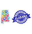 collage map of alabama state with map markers and vector image