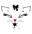 cute cat girl head says meow and covers his mouth vector image