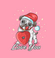 cute pug love doughnut pink colorful vector image