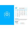 december 2019 desk calendar design template with vector image
