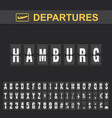 departure and arrival sign at hamburg airport vector image