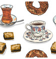 drawing pattern with turkish drinks and food vector image