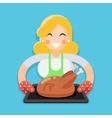 Fried chicken turkey housewife with baking vector image vector image