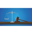gavel with scale judge object isolated blue vector image vector image