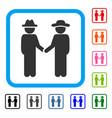 gentleman handshake framed icon vector image vector image