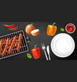 grill sausage and empty plate realistic meat and vector image vector image
