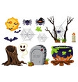 halloween elements with spiders and bats vector image vector image