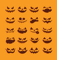 halloween funny and scary face icon set vector image