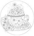 hand draw coloring book for adult teatime cups of vector image