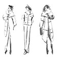 hand drawn cute winter fashion sketch cartoon vector image vector image