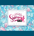 hand lettering summer sale banner on doddle vector image vector image
