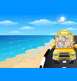 happy children riding a car in the seaside road vector image vector image