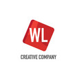 initial letter wl logo template design vector image vector image