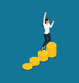 isometric business woman jumping rejoices big prof vector image vector image
