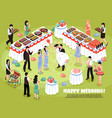 isometric wedding party background vector image vector image