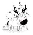 little deer stars decoration cute animals sketch vector image