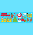 merry christmas and happy new year sticker pack vector image