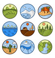 nature landscape icons of mountains ocean vector image vector image