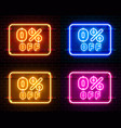 neon 0 off text banner color set night sign vector image vector image