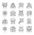 new year christmas thin line icon set vector image vector image