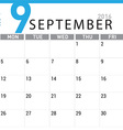 planning calendar September 2016 vector image vector image