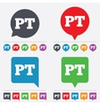 Portuguese language sign icon PT translation vector image