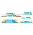 railway station passenger train terminal building vector image
