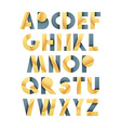 Retro font in grey and yellow Beige alphabet vector image vector image