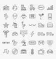 retro line icons set vector image vector image