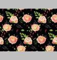seamless floral pattern of pink rose ranunculus vector image