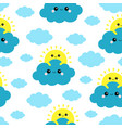 seamless pattern sun holding blue cloud vector image