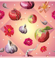 seamless pattern with flowers and fruits2 vector image vector image