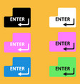 set enter button on yellow background vector image vector image