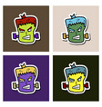 set of cartoon zombie head vector image