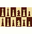 set of chess pieces on chessboard fields wooden vector image