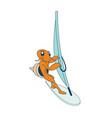 surfing hermit crab character vector image vector image