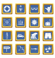 surfing icons set blue vector image vector image