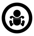 toddler boy with diapers black icon in circle vector image