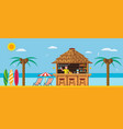 tropical beach with a bar on beach vector image vector image